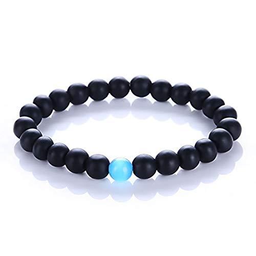 CAT EYE JEWELS 7inch Black Matte Agate Onyx Beads with Blue Semi-Precious Stone Bracelets (H61)