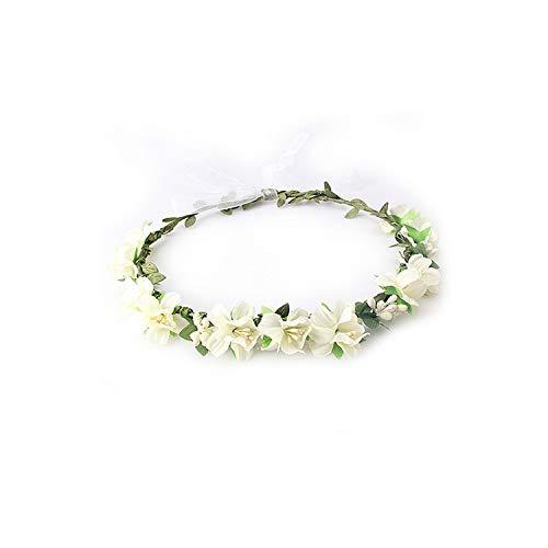 Girls Wedding Flower Crown Wreath Bohemian Vine Adjustable Yarn Garland Sweet Hair Bands Accessories For Bride Bridesmaid,C]()