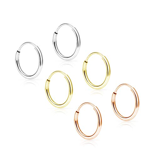 SOLIDGOLD - 14K Endless Yellow, Rose and White Gold 10mm Infinity Hoop Sleeper Earrings 3 Pair Set, YRW