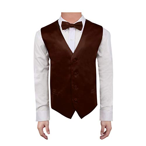 (Dan Smith DGEE0017-8 Dark Brown Toddler Plain Waistcoat Microfiber Fitness For Party Baby Vest with Matching Bow Tie for Age)