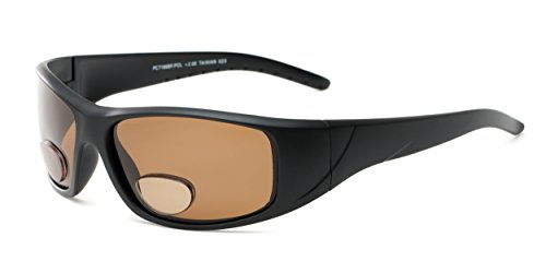 Readers.com The Richmond Polarized Bifocal Sun Reader +1.50 Matte Black with Amber Polarized Sports Bifocal Sunglasses Sport & Wrap-Around Reading - Richmond Glasses