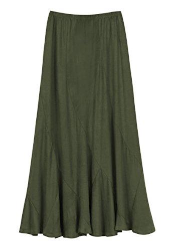 (Urban CoCo Women's Vintage Elastic Waist A-Line Long Midi Skirt (L, Army Green))