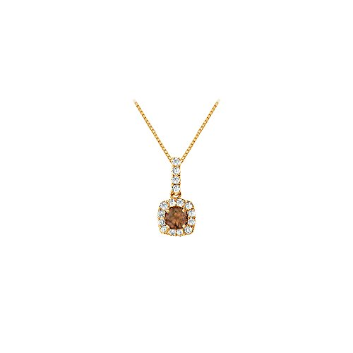 - Fancy Square Smoky Quartz and Cubic Zirconia Halo Pendant in 14K Yellow Gold Vermeil over Silver