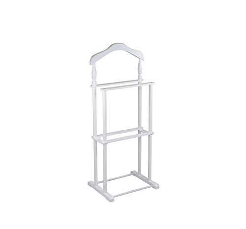 Proman Products Twin Valet Stand in White Wood and Coated Metal Legs ()