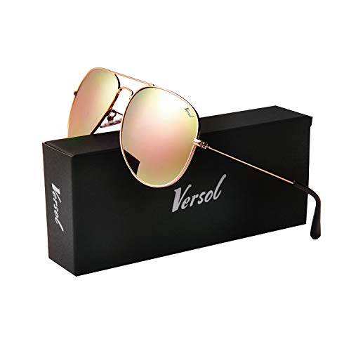 Polarized Gold Mirror - Versol Aviator Sunglasses for Men Women Polarized Metal Frame and UV 400 Protection 60mm - Premium Classic Style (Pink Mirror Lens + Gold)