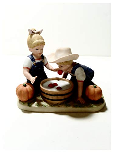 Denim Days Bobbing for Apples #1527, Home Interior Gifts, 4 1/2 Inches