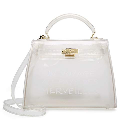 Poxas Top-handle PVC Women Shoulder Bags Jelly Candy Color Women Crossbody Bag (Large, White) ()