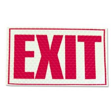 """Miller's Creek MLE151832 Luminous Exit Sign, Flexible, Recyclable, Adhesive, Reflective, 9.8"""" Width x 7.8"""" Height, Print/Message - Red"""