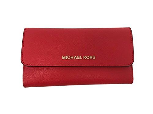 Michael Kors Jet Set Travel Large Trifold Leather Wallet in DK Sangria ()