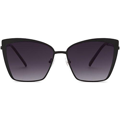 SOJOS Cateye Sunglasses for Women Fashion Mirrored Lens Metal Frame SJ1086 with Matte Black Frame/Gradient Grey Lens (Kinder Designer Glasses Frames)