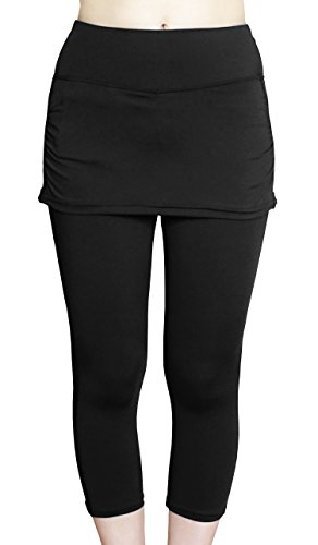 Cocoship Black Women's UPF 50+ Skirted Swim Capris Water Tankinis Multipurpose Sport Leggings XXL(FBA)