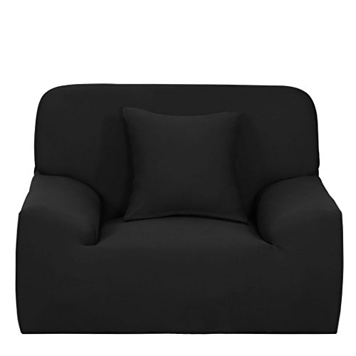 (uxcell Stretch Sofa Cover Chair Loveseat Couch Slipcover, Machine Washable, Stylish Furniture Protector with One Cushion Case (1 Seater, Black))