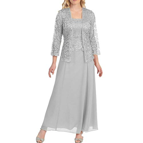 Aniywn Women Plus Size Two Piece Long Sleeve Party Dress Lace Solid Color Elegant Long Maxi Dress Mini Dresses Silver