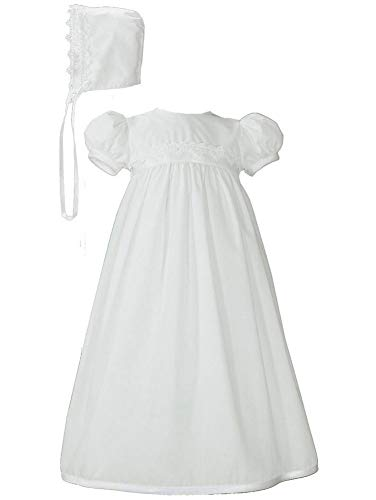 White Polycotton Christening Baptism Gown with Lace Trim & Bonnet (12-18 Month (23-25 - Cotton Christening Gown