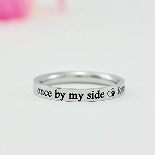 Once by My Side, Forever in My Heart - Custom Dainty Stainless Steel Stacking Band Ring, Customized Engraved Pet Memorial Name, Love Dog Paw Print, Personalized Pets Owner - Custom Heart