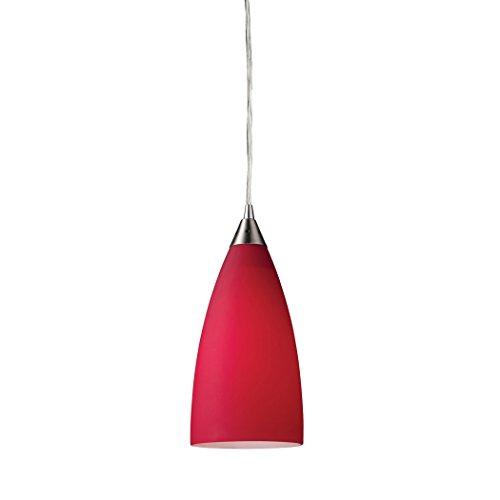 (Alumbrada Collection Vesta 1 Light Pendant In Satin Nickel And Cardinal Red Glass)
