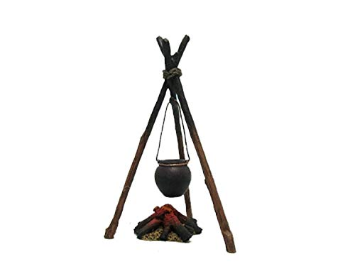 (Team Miniatures American Indians IDA6023 Cooking Tripod with Kettle & Fire 1:30 Scale Pewter)