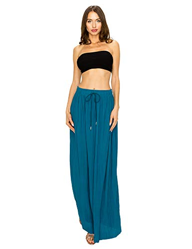 Made by T Women's Pleated Long Maxi Skirt – Elegant Full-Length Skirts with Waistband Blue One Size