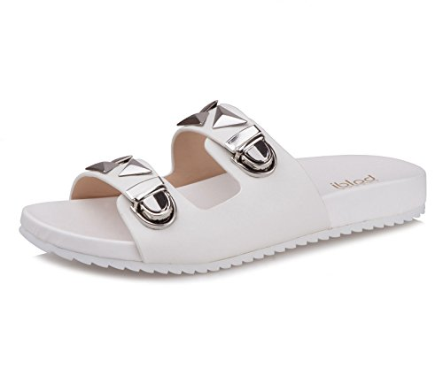 Womens Flat PU Casual Slippers Black - 9