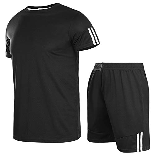 Aibrou Men's Casual Tracksuit Short Sleeve T-Shirts and Shorts Summer Activewear Athletic Sports Suit Set, Black S