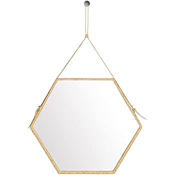 Ms.Box Real Cork Decorative Hanging Wall Mirror with Adjustable Strap, Hexagonal Mirror, Large Size