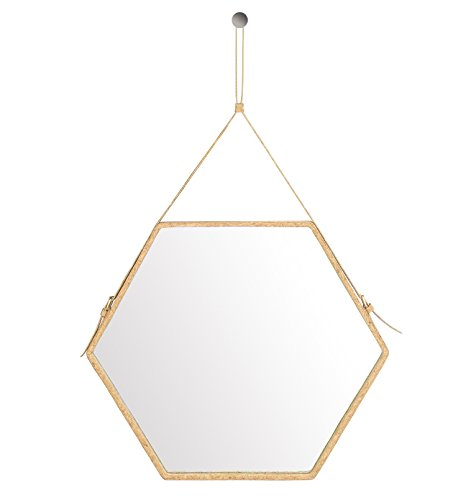 Ms.Box Real Cork Decorative Hanging Wall Mirror with Adjustable Strap, Hexagonal Mirror, Large - Hexagon Mirror Large