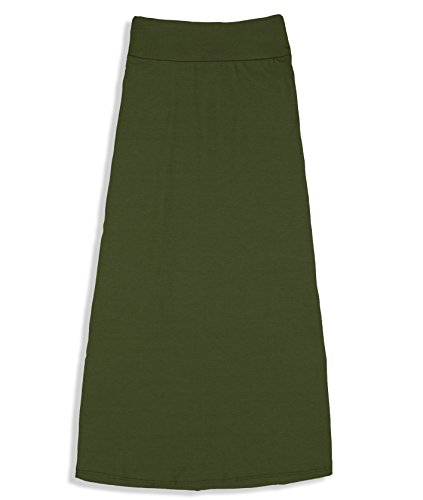 Price comparison product image Free to Live Girls 7-16 Maxi Skirts - Great for Uniform (Small,  Olive)