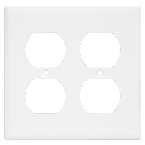 Duplex Wall Plate by Enerlites 8822-W Electrical Outlet Cover, 2-Gang Standard Size, White, Unbreakable Poly-Carbonate, Decorative GFCI Receptacle Switch Power Plug 4 Holes Panel Square Faceplate - Phone Outlet Switchplate