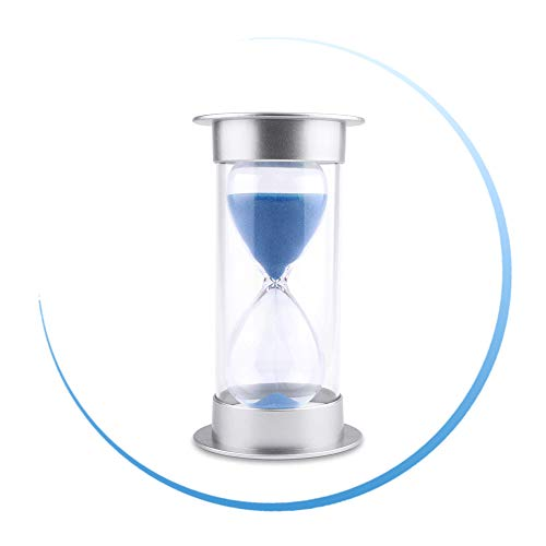 Hourglass Sand Timer 3/5/10/15/30 Minutes Sandglass Clock Timer for Kitchen, Home, Office, Classroom, Desk, Kids Games, Art Decorative (3 Minutes, Blue)]()