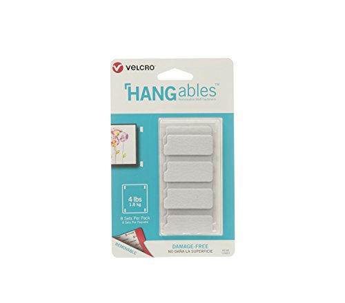 VELCRO Brand HANGables | Removable Wall Fasteners | Decorate Without Damaging Your Walls | Hang frames, Create Wall Collages | 8 Sets per Pack | Small Strips