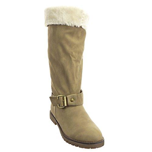 Sopily - Zapatillas de Moda Botas Cavalier Rodilla mujer Hebilla Talón Tacón ancho 2.5 CM - plantilla sintética - forradas en piel - Caqui
