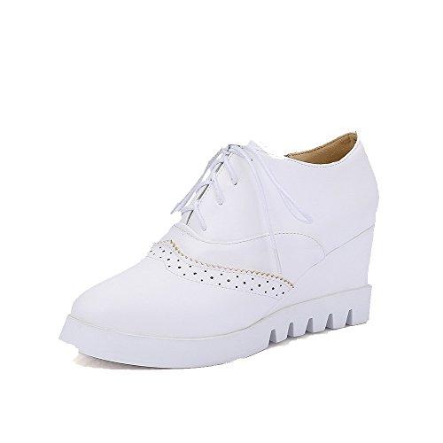 Sitoa Valkoinen Naisten Pumput Ympäri kengät Toe Vankka Suljetun Korkokengät Weenfashion z4wnAtqHq