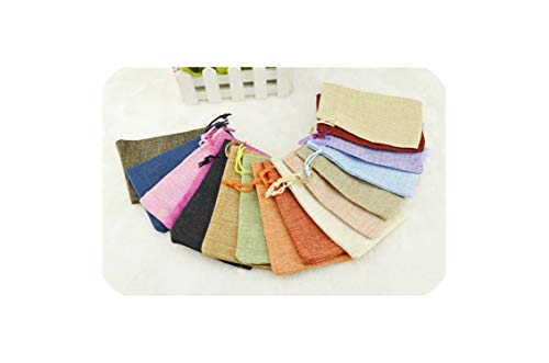 Hot 50Pcs Linen Jute Drawstring Pouch Cotton Mix Color Packages For Packaging Gift Wedding Party Christmas Candy Bags (4 Size),Random Color,10X14Cm ()