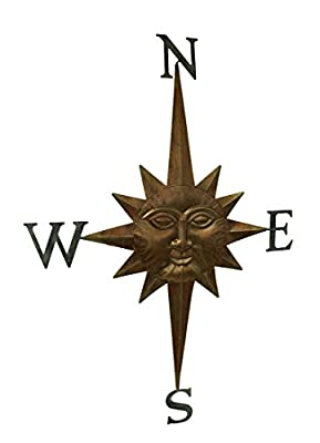 Celestial Sun 4 Point Bronze Finish Compass Rose Wall Hanging 37 Inch