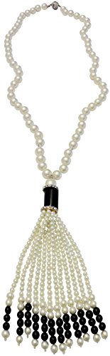Kenneth Jay Lane KENNETH JAY LANE-30- PEARL NECKLACE WITH JET & WHITE TASSEL-PAVE CRYSTAL - Lane Crystal Kenneth Pendants Jay