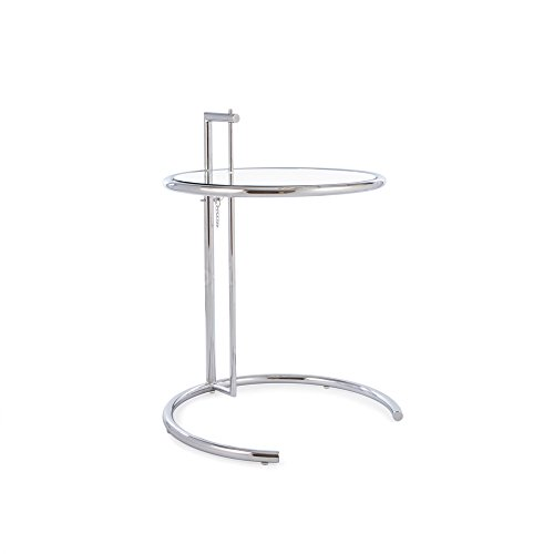Mid Century Modern Eileen Gray Style Chrome and Glass Side End - Le Corbusier Gray Eileen