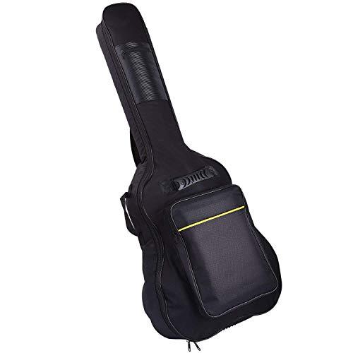 CAHAYA [Upgraded Version] 41 Inch Acoustic Guitar Bag 0.3 Inch Thick Padding Waterproof Dual Adjustable Shoulder Strap Guitar Case Gig Bag - Black ()