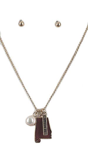 (Fashion Jewelry ~ State Shape Charm Pendant Necklace and Earrings Set (State of Alabama Goldtone Brown))