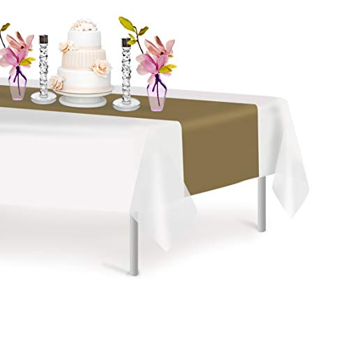 Gold 6 Pack Premium Disposable Plastic Table Runner 14 x 108 Inch. Decorative Table Runner for Dinner Parties & Events, Decor By Grandipity