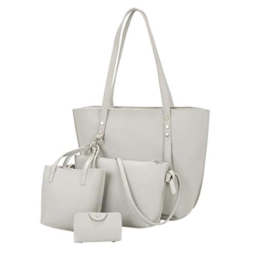 Black Bag Handbag Kanpola Leather Women 4Pcs Pattern Bag Gray Shoulder Wallet Crossbody wwgXnv4qR