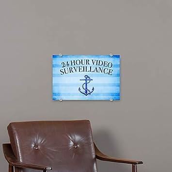 5-Pack Nautical Stripes Premium Acrylic Sign CGSignLab 24 Hour Video Surveillance 27x18