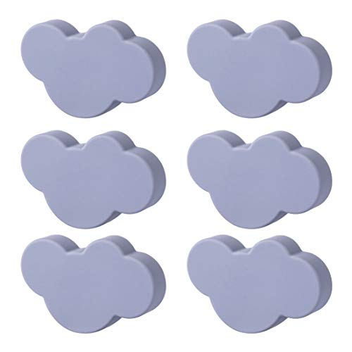 WOLFBUSH Soft Rubber Knobs 6Pcs Cartoon Cloud Shape Cabinet Knobs Silicone Door Knobs Cute Knobs for Cabinets,Doors, Dresser, Kitchen Cabinets and Cupboards ()