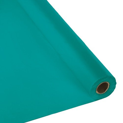 Plastic Party Banquet Table Cover Roll - 300 ft. x 40 in. - Disposable Tablecloth (Teal)
