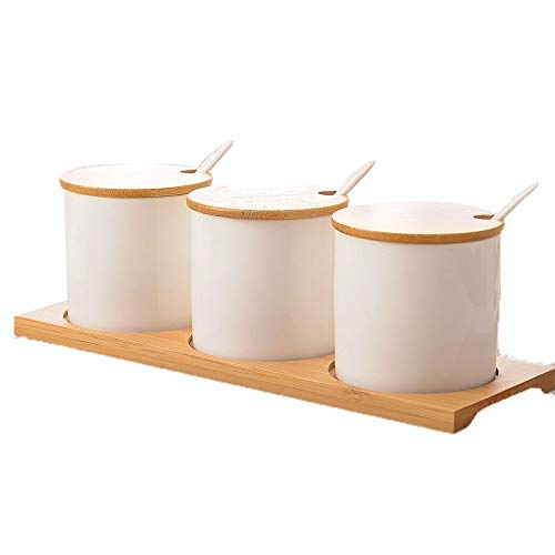 DYFYMX sugar bowl with lid Spice jar white, ceramic sugar jar with lid, condiment jar, seasoning box set with lid spoon and tray oil container for kitchen from DYFYMX