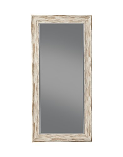 Sandberg Furniture Antique White Wash Farmhouse Full Length Leaner Mirror,