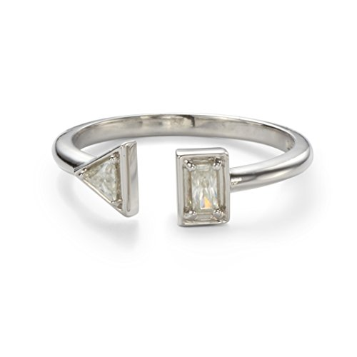 Forever Classic Triangle and Baguette Two Stone Moissanite Ring-size 8 by Charles & Colvard from Charles & Colvard