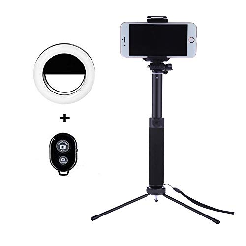 Selfie Stick Tripod 1.12 M with Ring Light Remote Bluetooth for Live Stream Compatible for iPhone X/SE/6/6s/6 Plus/7/7 Plus/8/8 Plus/,Samsung 8/S8/S8 Plus,Nexus,LG,Moto and More(Black) by Keweis