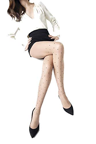 Dotted Tights - Marilyn Designer Hosiery w/ Polka Dot Pantyhose (S/M) Nude