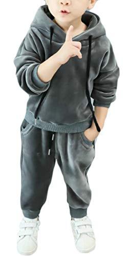 (Bigbarry Boys and Girls Cozy Velour Hooded Sweatshirt and Pants Tracksuit Set Grey 3T)