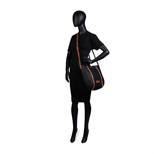 Sintética Interior Cierre Piel De 26770 Polipiel Mujer Ajustable E Con Bandolera Color Cremallera Bolso Detrás Negro Bolsillo Lois O4w7Ynq6q